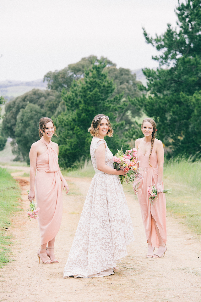 Bridesmaids in blush | Katie Hillary Photography