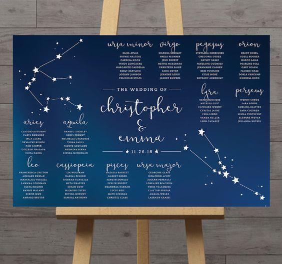 constellation seating plan in navy and white