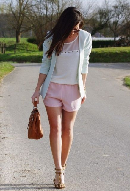 With white top, mint green blazer, leopard heels and brown bag
