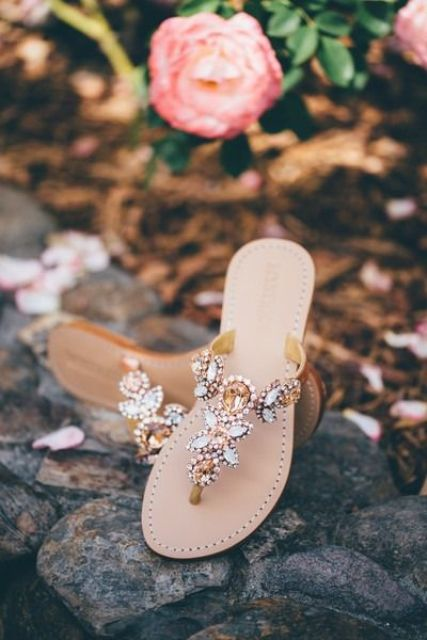 jeweled wedidng sandals with copper and silver crystals for decor