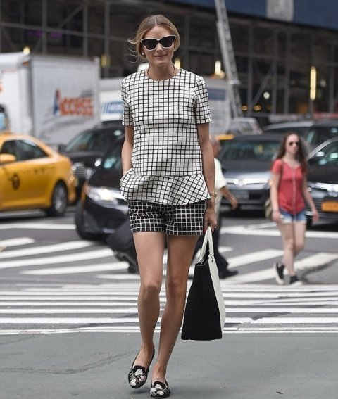 With checked peplum shirt and loafers