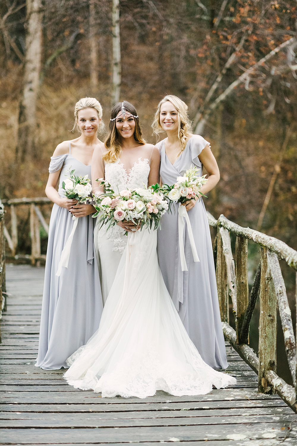 grey bridesmaid dresses - photo by Alicia King Photography http://ruffledblog.com/upstate-new-york-wedding-ideas-with-copper