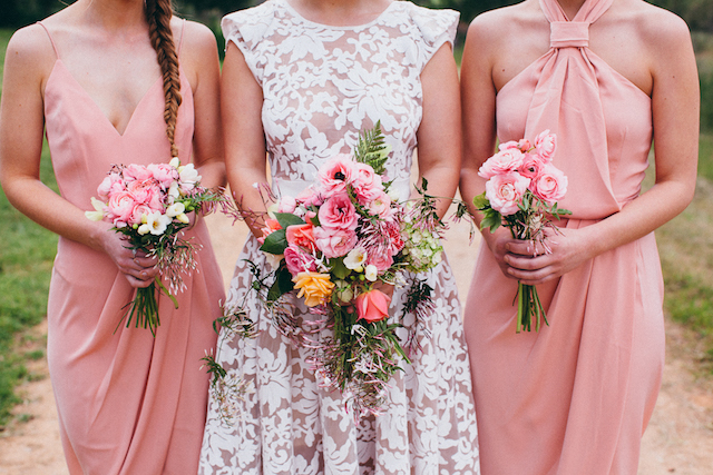 Pink bridesmaids dresses and colorful bridal bouquets | Katie Hillary Photography