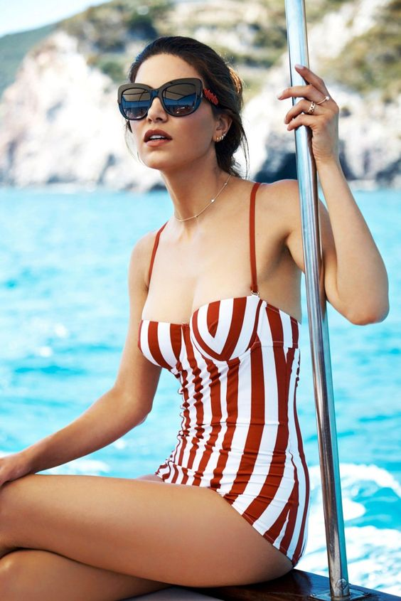 retro-inspired bathing suit with red and white vertical stripes