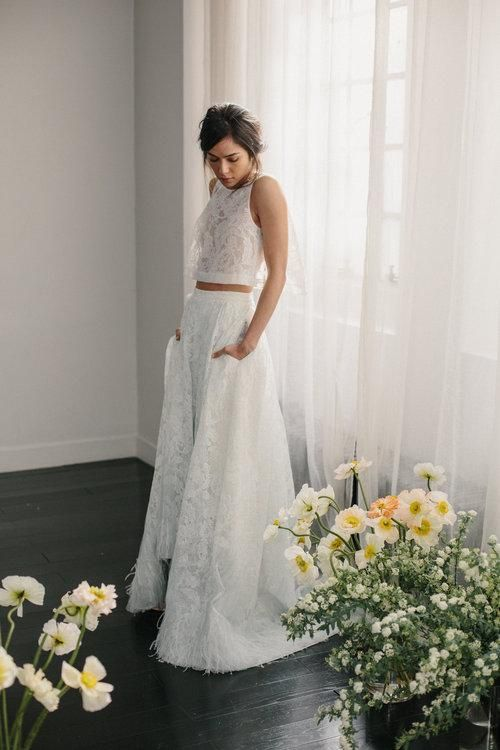 textural lace bridal separate with halter neckline top and a high low skirt