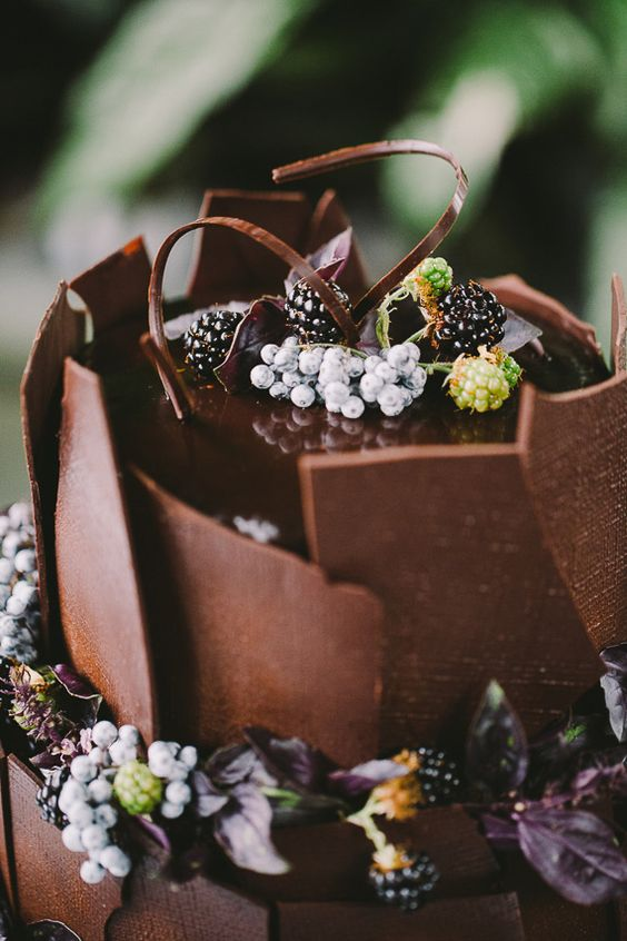 all-chocolate wedding cake with fresh berries and stunning design