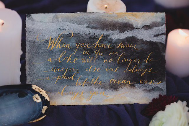 Gold calligraphy | Just For Love Photography