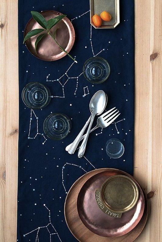 navy constellation wedding table runner looks chic with copper touches