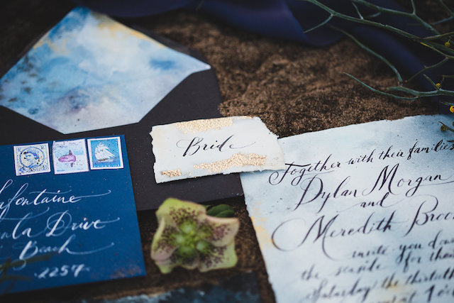 Gold leaf details on place cards | Just For Love Photography