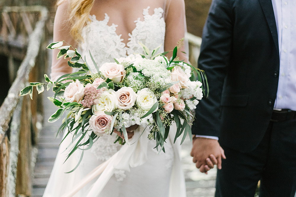 garden bouquets - photo by Alicia King Photography http://ruffledblog.com/upstate-new-york-wedding-ideas-with-copper