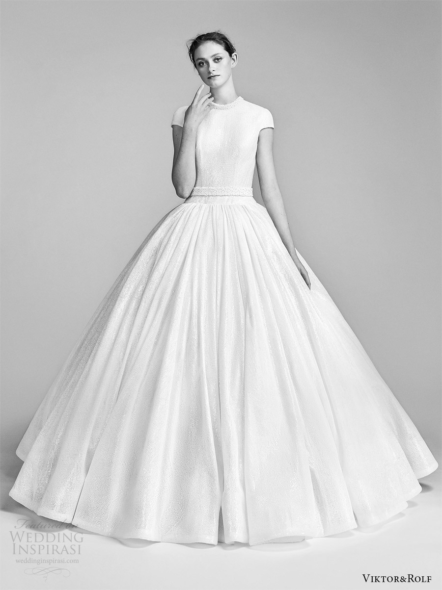 viktor and rolf spring 2018 bridal cap sleeves high neck drop waist ball gown wedding dress (10) mv romantic modern