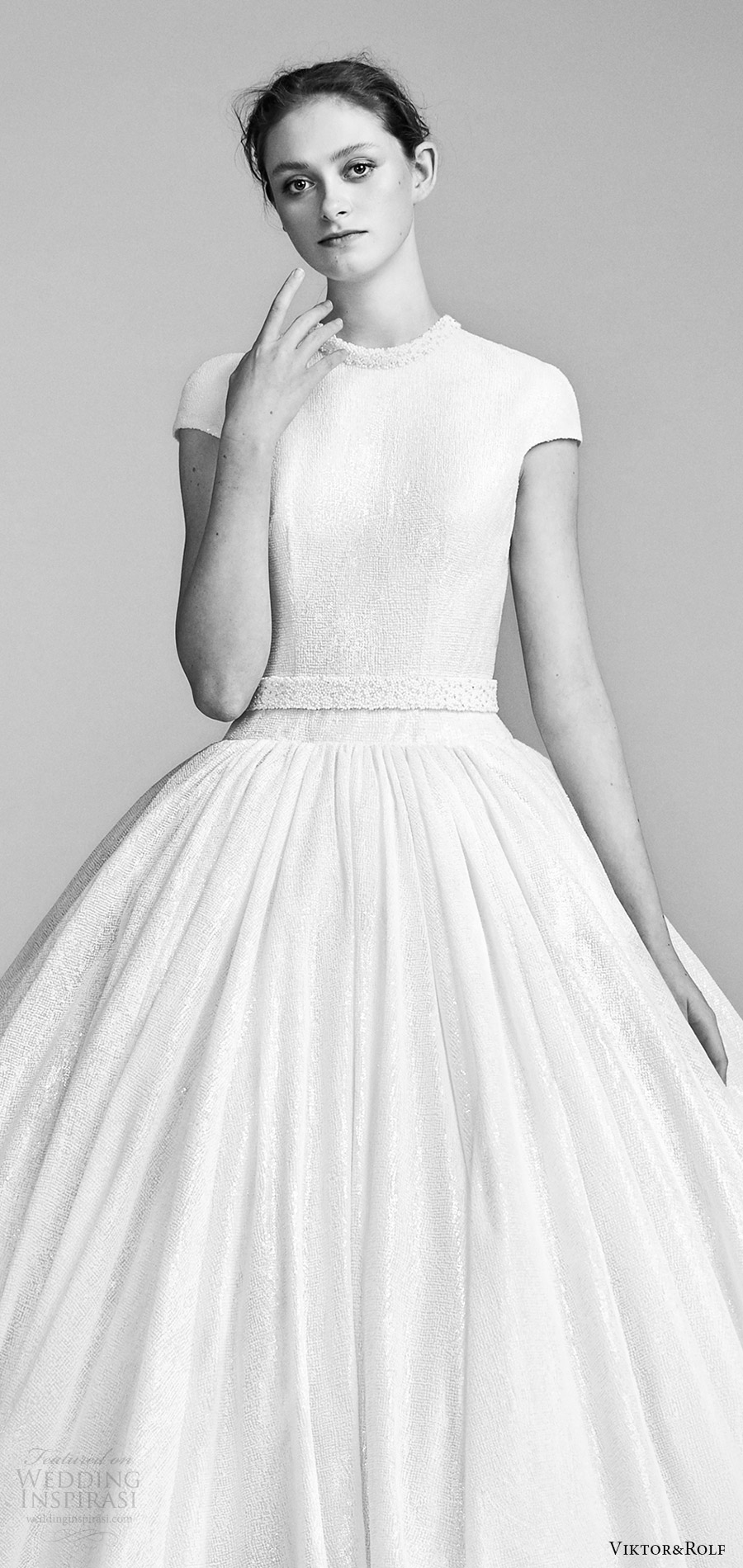 viktor and rolf spring 2018 bridal cap sleeves high neck drop waist ball gown wedding dress (10) zv romantic modern