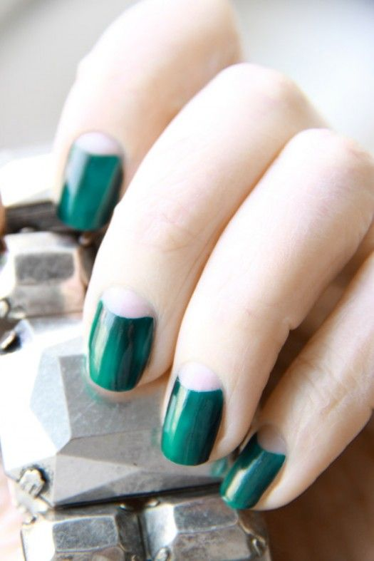 emerald half moon nails look very bold