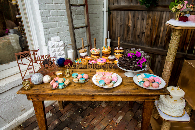 Dessert display with doughnuts | Kristopher Lindsay Photography + Milk Glass Productions
