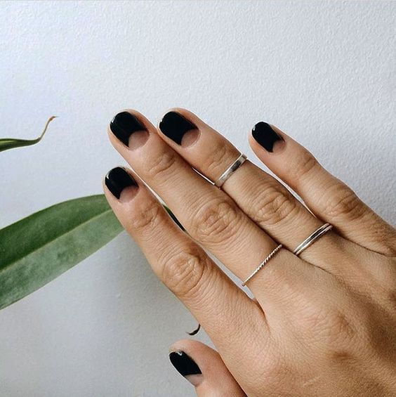 black half moon nails for a minimal modern look
