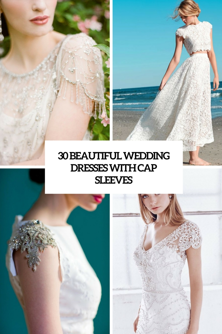 beautiful wedding dresses with cap sleeves cover