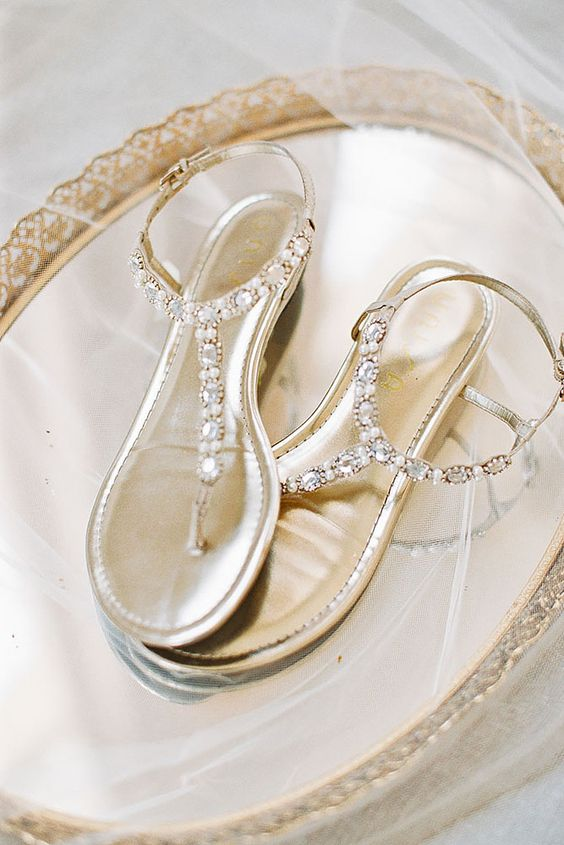 metallic crystal thong wedding sandals are comfy to go all day and dance all night