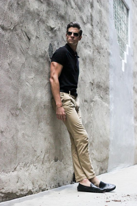 Khaki Pants with Black shirt
