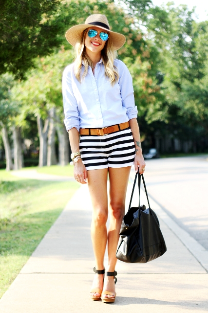 With button down shirt, two color sandals and black bag
