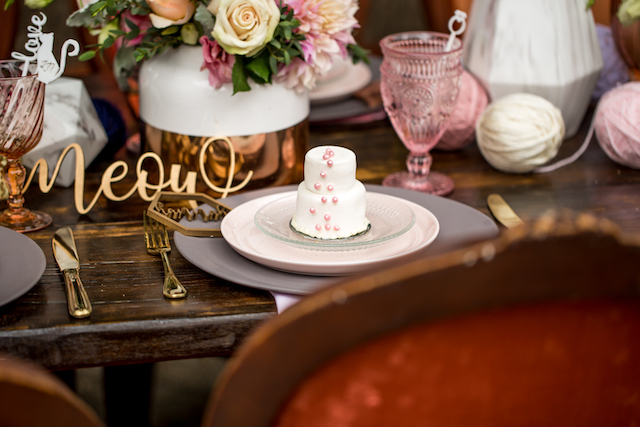 Mini cake place setting | Kristopher Lindsay Photography + Milk Glass Productions