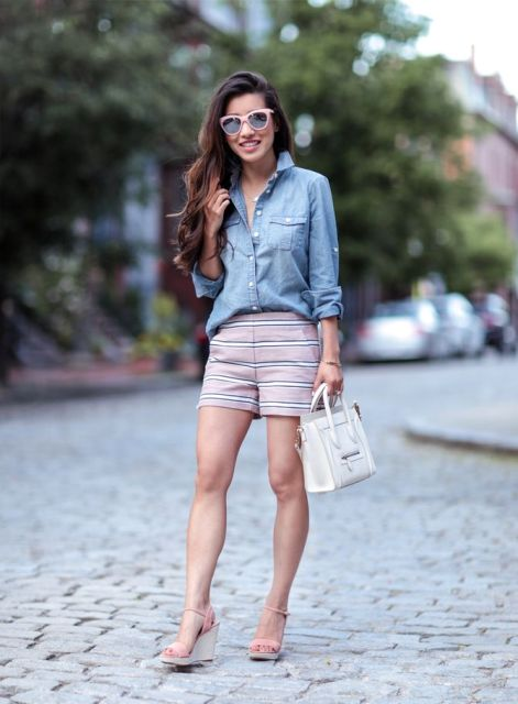 With denim shirt, white small bag and platform sandals