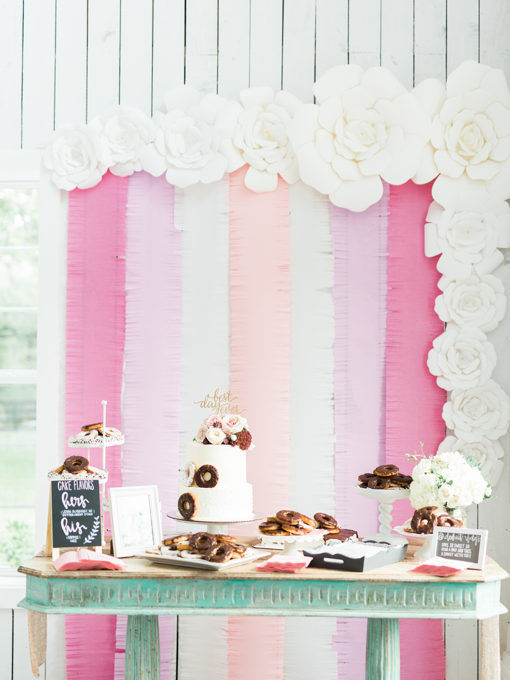 dessert tables - photo by Elisabeth Carol Photography http://ruffledblog.com/picturesque-garden-wedding-at-white-sparrow-barn