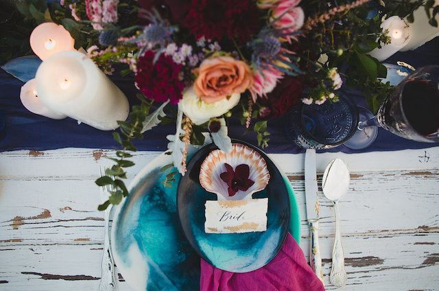 Marbleized, ocean themed place settings | Just For Love Photography