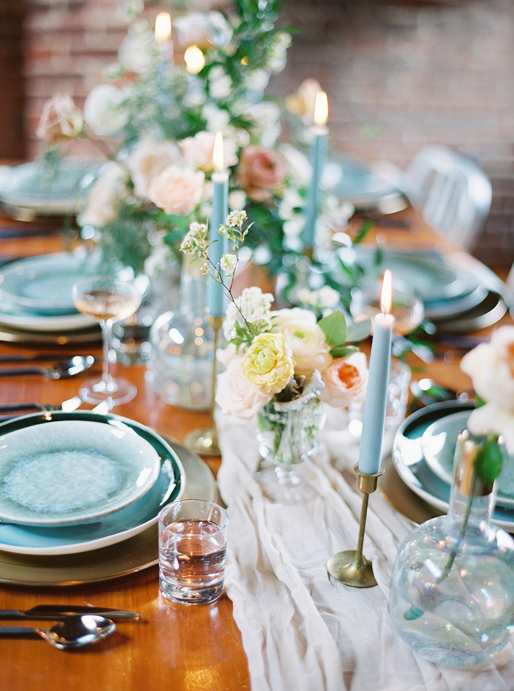 wedding tablescapes - photo by Photos by Heart http://ruffledblog.com/downtown-birmingham-spring-wedding-inspiration