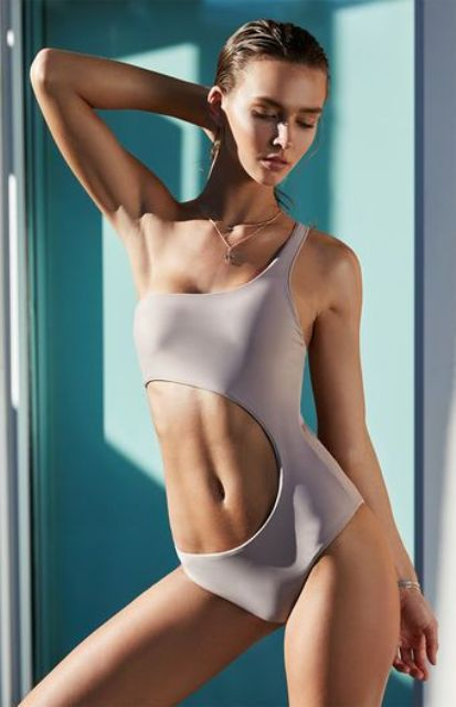 grey one shoulder side cutout one piece swimsuit