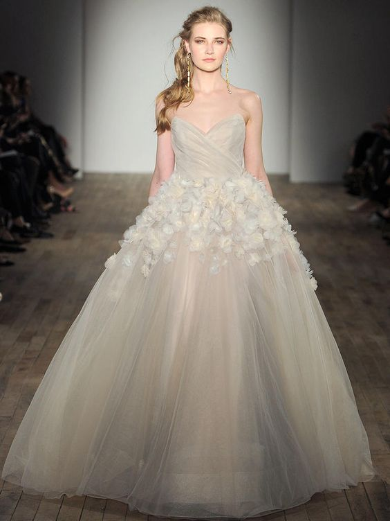 champagne strapless sweetheart neckline ballgown with white floral appliques on the skirt
