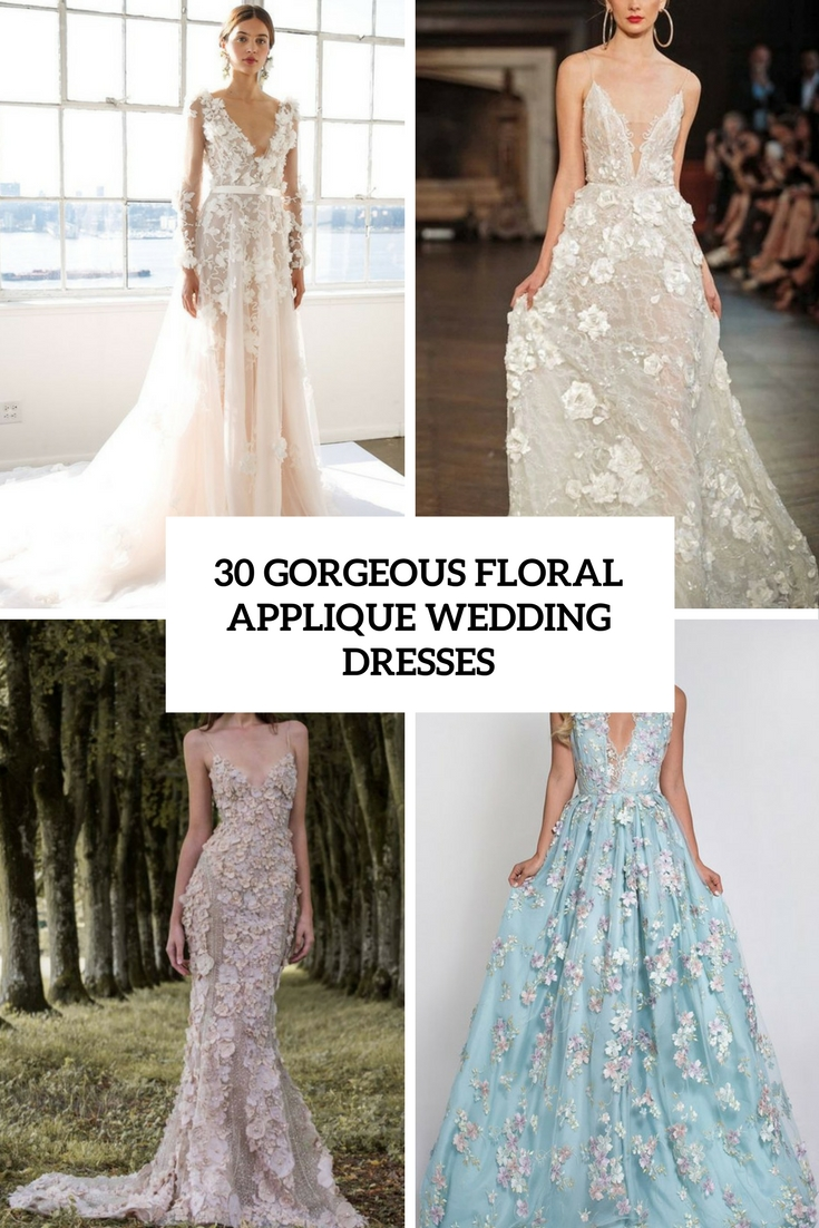 gorgeous floral applique wedding dresses cover
