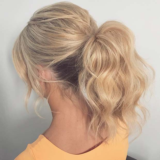 Wavy Ponytail Updo for Prom