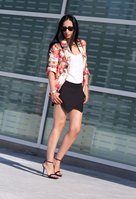 With white top, floral blazer and heels