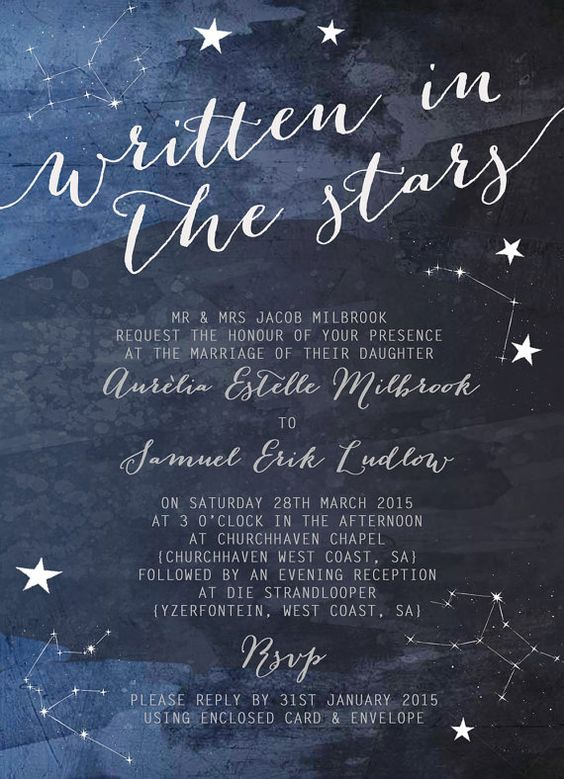 constellation invitations in navy and shades of blue