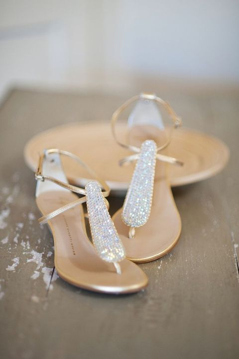 silver wedding sandals with a large central beaded strap