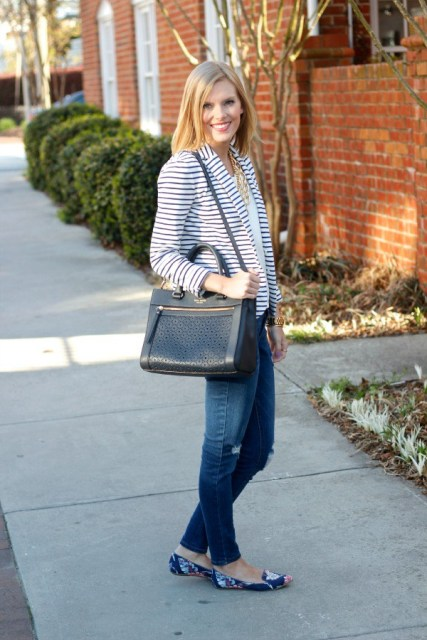 With striped blazer, jeans and black big bag