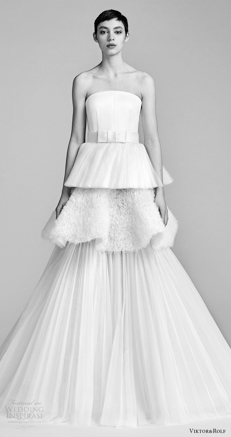 viktor and rolf spring 2018 bridal strapless straight across a line wedding dress (5) mv tiered pleated skirt modern