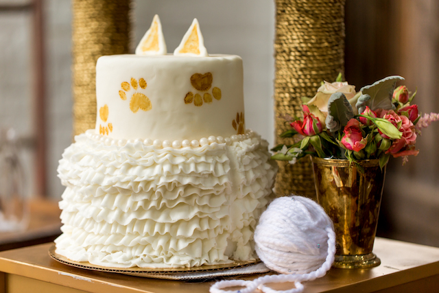 Cat themed bridal shower cake | Kristopher Lindsay Photography + Milk Glass Productions