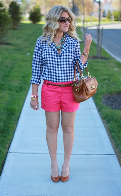 With checked shirt, brown bag and brown flats