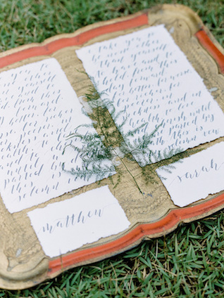Calligraphy vows | Casey Rose Photography