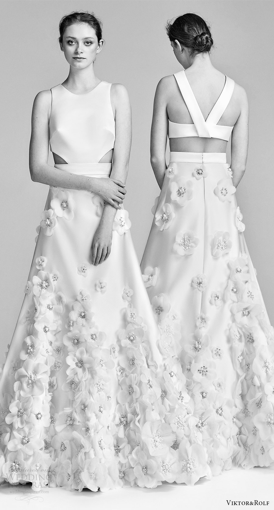 viktor and rolf spring 2018 bridal sleeveless jewel neck embellished skirt a line wedding dress (18) side cutouts mv bv modern