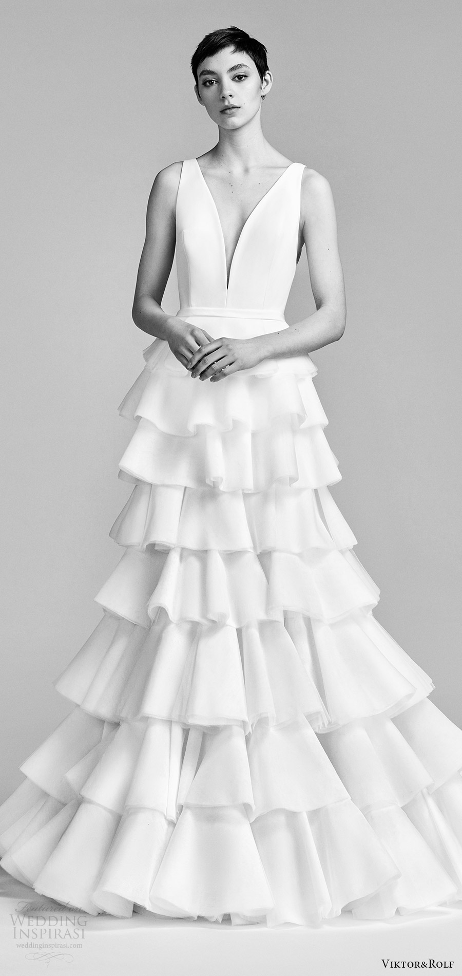 viktor and rolf spring 2018 bridal sleeveless v neck trumpet wedding dress ruffle tiered skirt (17) mv modern romantic