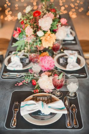 Chalkboard inspired wedding tablescape - Gideon Photography