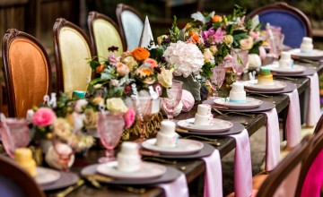 colorful cat-themed bridal shower