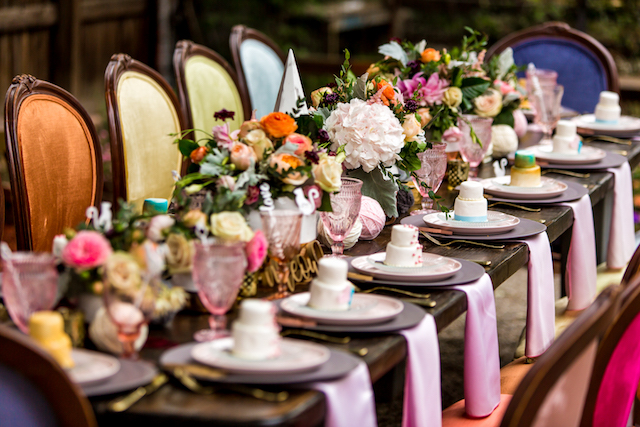 Colorful bridal shower farm tablescape | Kristopher Lindsay Photography + Milk Glass Productions