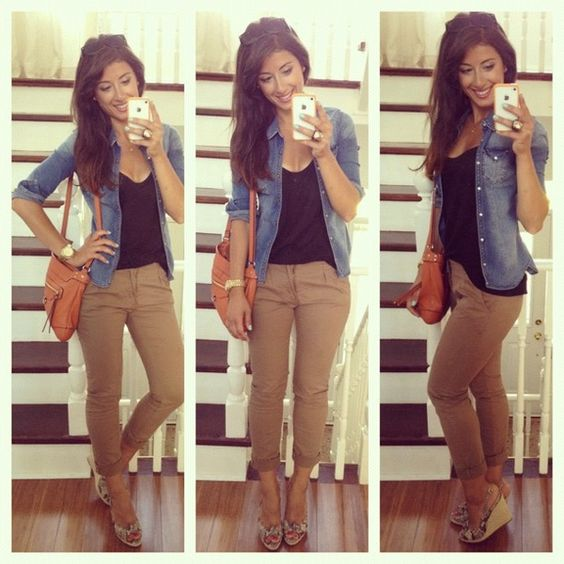 How to Wear Khaki pants with Denim Jacket