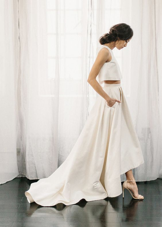 modern bridal separate with a plain strap top and a high low skirt with pockets