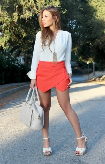 With white blouse, platform sandals and bag