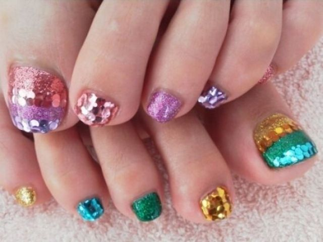 glitter and sequins of different bold colors are cool for summer