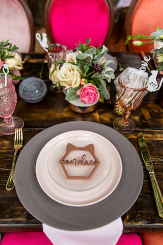 Cat themed bridal shower place setting | Kristopher Lindsay Photography + Milk Glass Productions